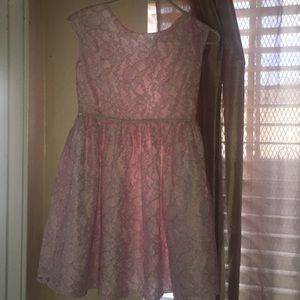Child puffy pink flowered lace dress 10/12 L